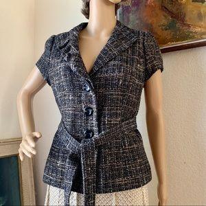 Classique Entier Short Sleeves Belted blazer